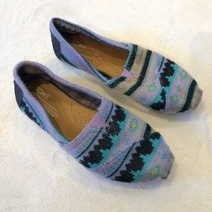 Toms | Wool Patterned Slip On Shoes Sz 7